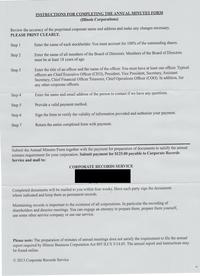 Corporate Records Document