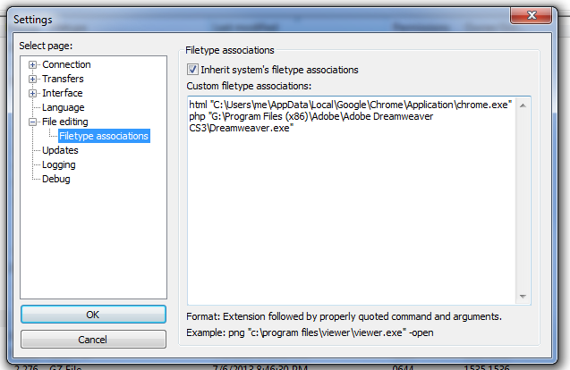 FileZilla Filetype Associations