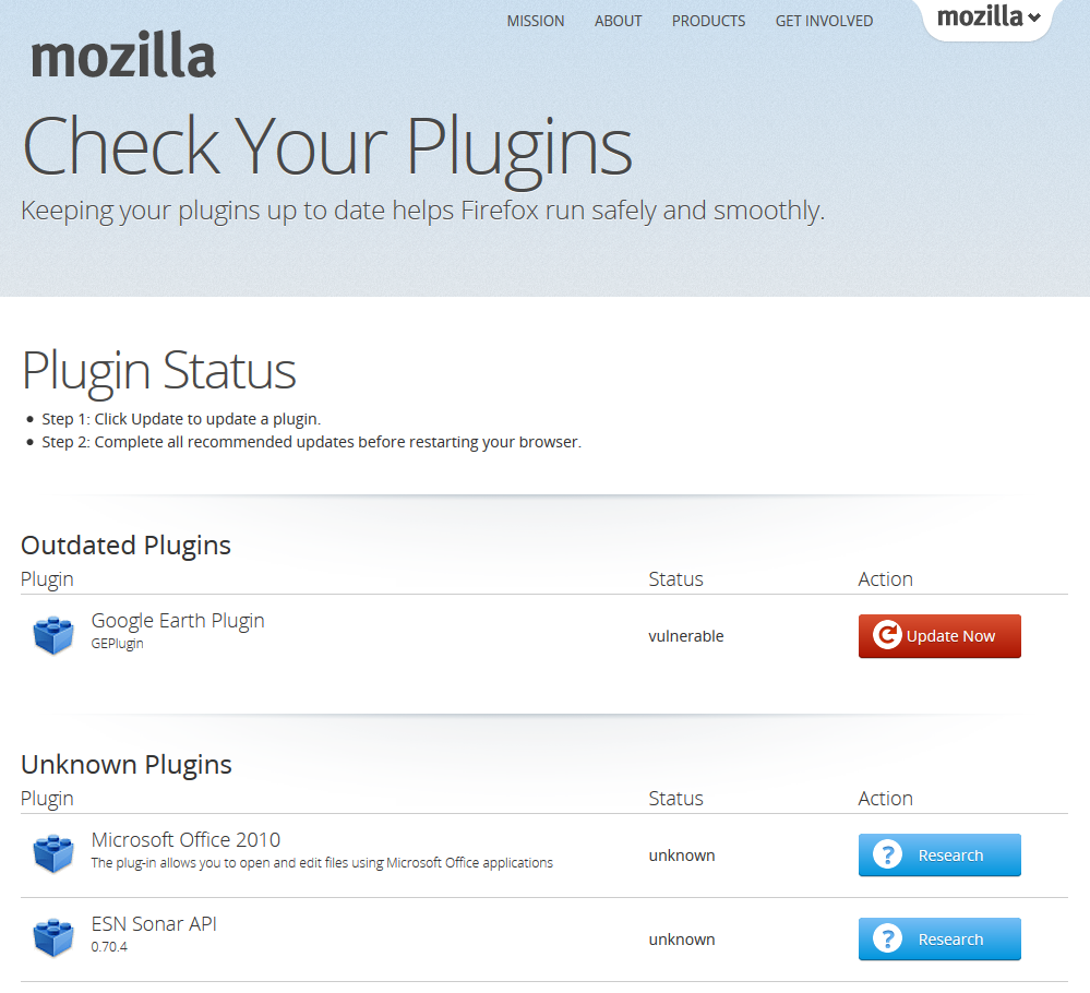 In the case of Firefox, you can access the list of plugins by going to Tools, Add-ons, and then selecting Plugins on the left side of the screen. Again, you will see a long list of plugins that.