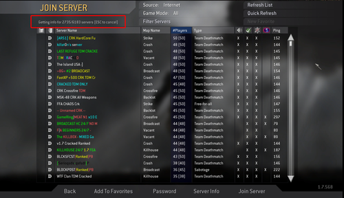 CoD Empty Server List