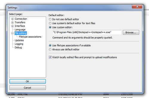 FileZilla File Editing