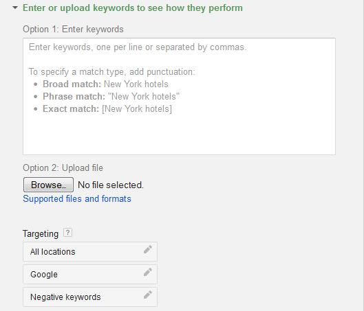 Enter Keywords into Keyword Planner