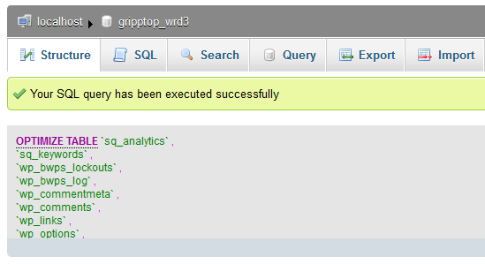 phpMyAdmin Successful Query