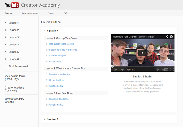 Youtube Creator Academy Screenshot