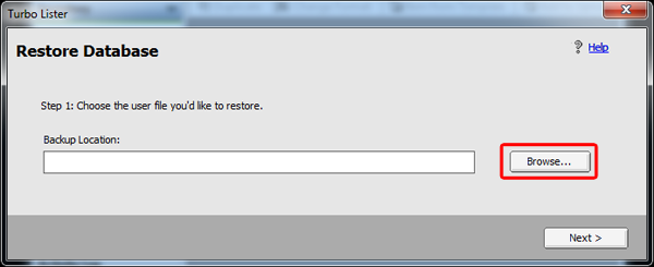 Choose file to restore in Turbo Lister.