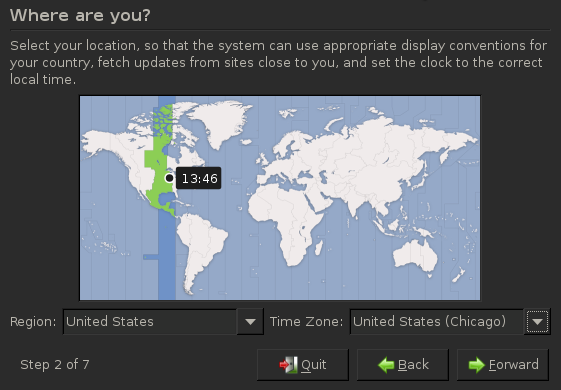 Select region and time zone during BackTrack installation.