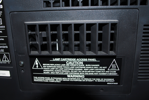 The lamp access panel on a DLP TV.