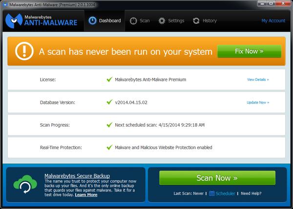 The Malwarebytes dashboard.