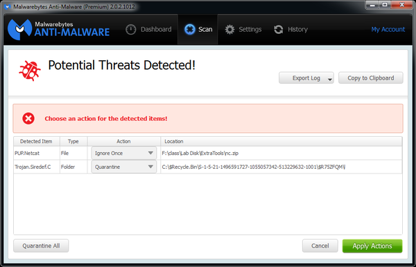 A threat detected from Malwarebytes.