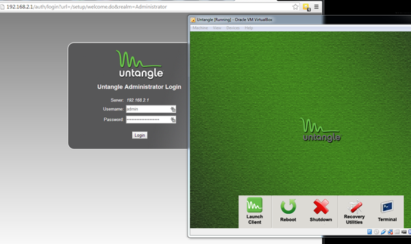 An example of Untangle running in Virtual Machine.