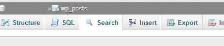 Search within phpMyAdmin.