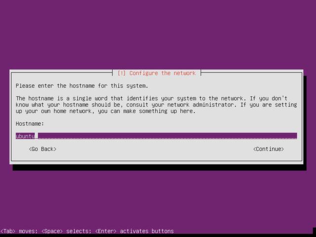 Choose a hostname for Ubuntu Server.