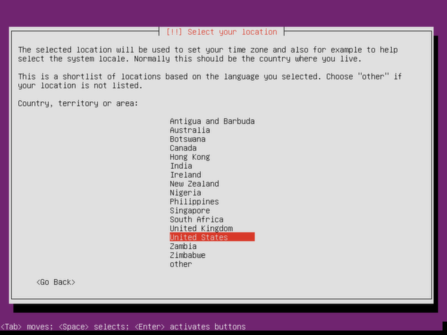 Select a location for Ubuntu Server.