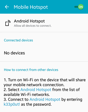 Android Mobile Hotspot Enabled
